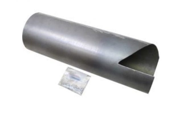 stainless steel John Deere Bubble-Up Liner with a bolt kit in a small bag