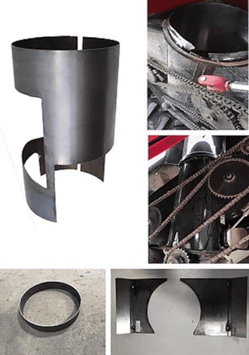 Vertical unload tube liner kit for steel elbow machines